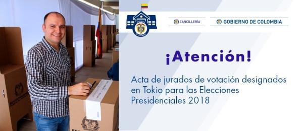 Acta de jurados de votación designados en Tokio para las Elecciones Presidenciales