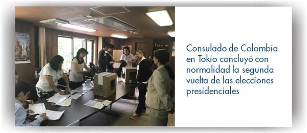 El Consulado de Colombia en Tokio concluyó con normalidad la segunda vuelta de las elecciones presidenciales