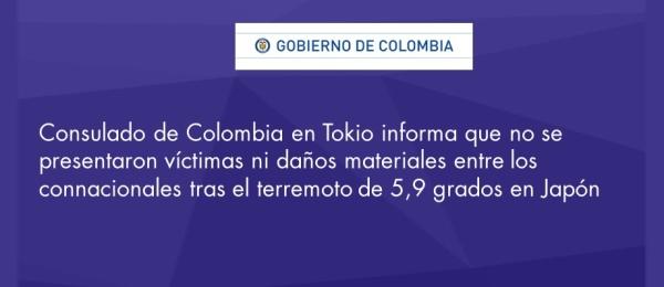 El Consulado de Colombia en Tokio informa que no se presentaron víctimas ni daños materiales entre los connacionales tras el terremoto de 5,9 grados en Japón