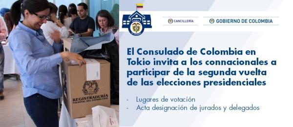 Consulado de Colombia en Tokio invita a los connacionales a participar de la segunda vuelta de las elecciones presidenciales