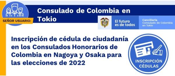 Inscripción de cédula de ciudadanía en los Consulados Honorarios de Colombia en Nagoya y Osaka para las elecciones