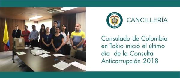 Consulado de Colombia en Tokio inició el último día  de la Consulta Anticorrupción 2018